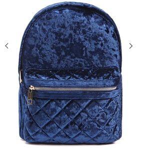 Velvet Navy Blue Backpack